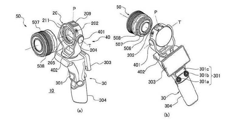 針對Vlog市場,Canon公布一款可交換鏡頭的手持雲台相機專利