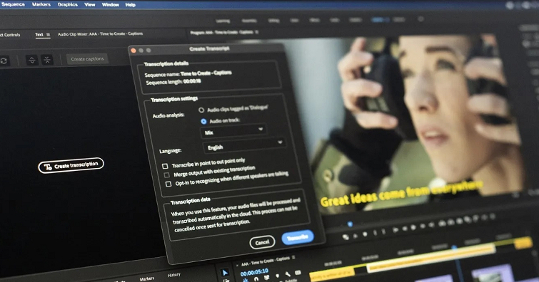Adobe Premiere Pro 正式推出支援繁體中文的語音轉文字字幕功能,原生支援 M1 Mac 裝置